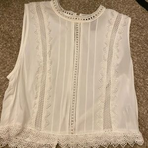 White cropped lace top
